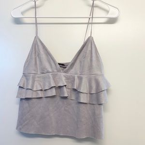 Zara lilac/grey ruffled suede top